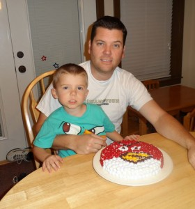 A Happy Birthday and an M&M's Angry Birds Cake
