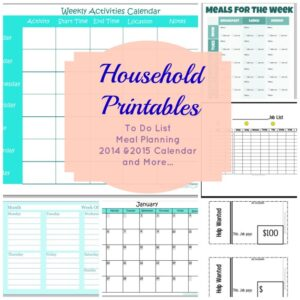 Household Printables for Back to School