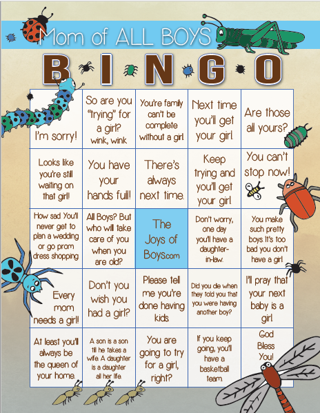 Mom of all boys bingo